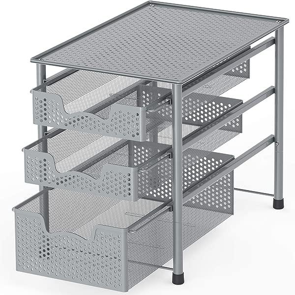 Simple Houseware Stackable 3 Tier Sliding Basket Organizer Drawer Silver