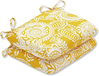 """Pillow Perfect Outdoor/Indoor Addie Egg Yolk Round Corner Seat Cushions, 18.5"""" x 15.5"""", Yellow, 2 Count"""