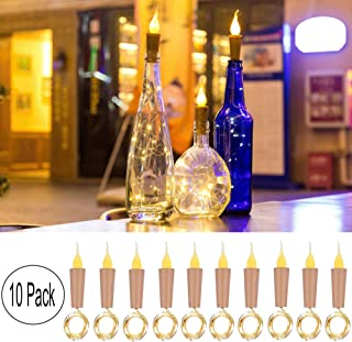 Wine Bottle Cork Lights,10 Pack Battery Operated LED Candle Flameless Tealight Cork Fairy Mini String Flame Cork Light for DIY, Party, Decor, Christmas, Halloween, Wedding (Warm Bottle Lights)