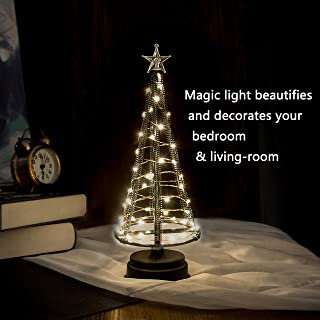 HONESTY Mini Christmas Trees, Decorative Lights for Home/Decoration/Party/Wedding, 10Inch 40LED USB or Battery Powered, Warm White Mini Lamp, Light Tree, Inside Black S