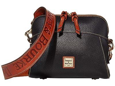 Dooney & Bourke Pebble Cameron Guitar (Black/Tan Trim) Handbags