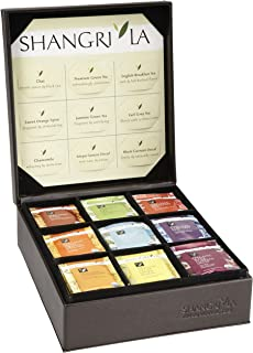 Shangri-La Tea Company Organic Luxury Teabag Collection, 81 Hot Tea Bags, 9 Different Flavors, Custom Gift Box