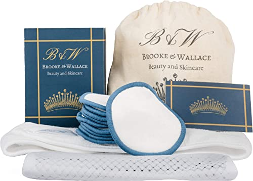 Brooke & Wallace Beauty and Skincare   16 Pack Complete Kit with Headband   Reusable Makeup Remover Pads   Luxury Pre...