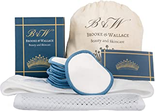 Brooke & Wallace Beauty and Skincare | 16 Pack Complete Kit with Headband | Reusable Makeup Remover Pads | Luxury Premium Face Wipes | Natural Bamboo