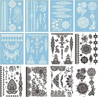 12 Sheets Henna Temporary Tattoos Stickers Fake Body Tattoos, 100+ Temp Tattoos Henna Tattoo Designs for Women Girls, Stick on Fake Tattoos, White & Black