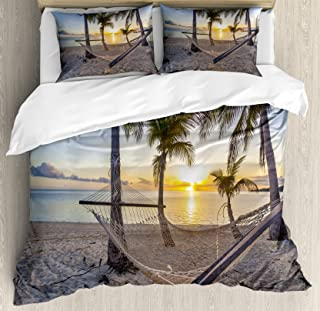 Ambesonne Tropical Duvet Cover Set, Paradise Beach with Hammock and Coconut Palm Trees Horizon Coast Vacation Scenery, Decorative 3 Piece Bedding Set with 2 Pillow Shams, Queen Size, Blue Sand