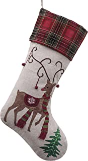 Valery Madelyn 21 inch Country Burlap Christmas Stockings with Reindeer and Tartan Cuff, Themed with Tree Skirt (Not Included)