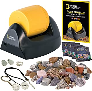 NATIONAL GEOGRAPHIC Starter Rock Tumbler Kit-Includes Rough Gemstones, 4 Polishing Grits, Jewelry Fastenings & Detailed Le...