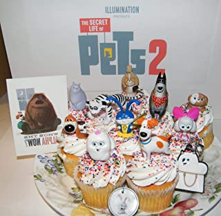 The Secret Life of Pets 2 Movie Deluxe Cake Toppers Cupcake Decorations 13 Set with 10 Figures, Pet Tattoo, Dog Tag Ring, Key chain with Original and All New Characters!