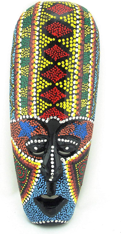 Small African Mask - Hand Painted Aboriginal Dot Art - Tribal Tiki Masks Wall Hanging - 9.5 Inches (Diamond Head)