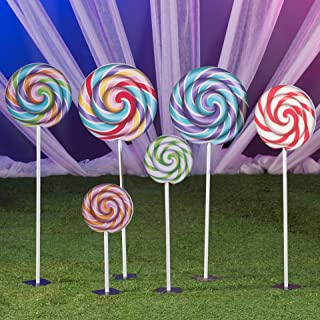 4 ft. 10 in. to 1 ft. 7 in. Sugar Rush Swirl Lollipop Props Standup Photo Booth Prop Background Backdrop Party Decoration Decor Scene Setter Cardboard Cutout