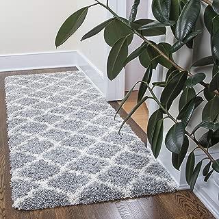 Ottomanson Ultimate Shaggy Collection Moroccan Trellis Design Contemporary Hallway & Kitchen Shag Runner Rugs, Grey, 2'7