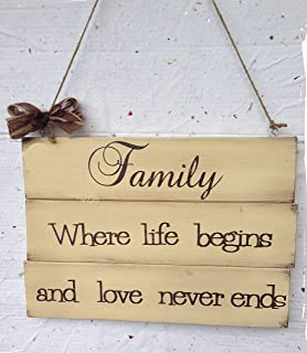 Targa in legno Family Where life begins and love never ends
