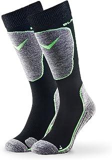 Black Crevice, Calcetines de esquí para hombre, 1 par, negro/verde, 39-42
