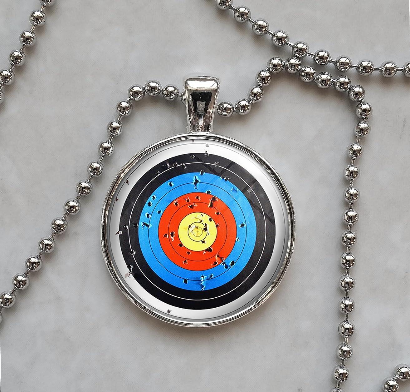 Archery Bow Arrow Target Pendant Necklace