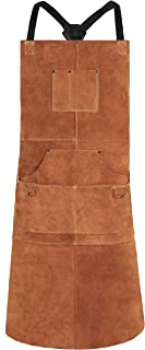 QeeLink Leather Welding Apron – Heat & Flame-Resistant Heavy Duty Work Apron..