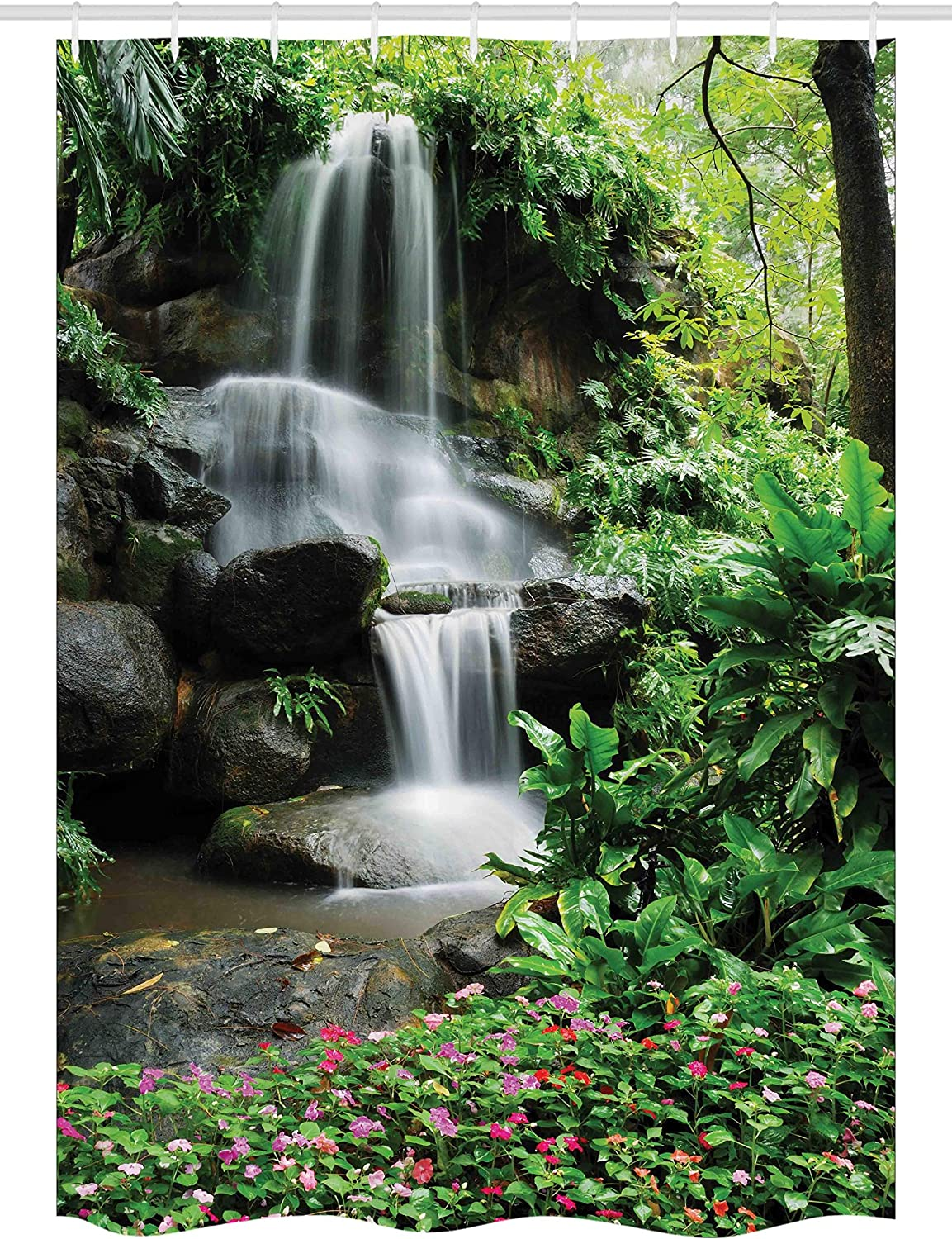 Spring new work Ambesonne Waterfall Stall Shower Curtain Superior Pond Flowers