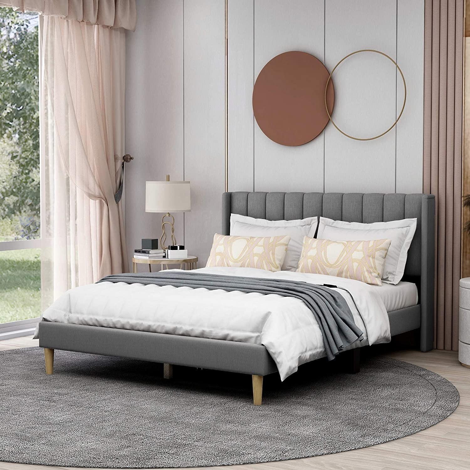 Upholstered Platform Bed Frame Queen Size with Headboard and Footboard/Wooden Slats Support/No Box Spring Needed/Easy Assembly,Grey