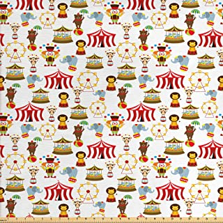 Ambesonne Circus Fabric by The Yard, Circus Elephant Bear Monkey Animals Merry Go Round Magic Classic Celebration Print, Decorative Fabric for Upholstery and Home Accents, 2 Yards, Red Brown