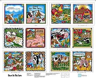 QT Fabrics Sew N Go V Down On The Farm 35'' Book Panel Fabric, Multicolor