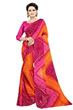 Kanchan KSH Women's Georgette Crepe Blend Saree with Blouse | Pink;Multicolour