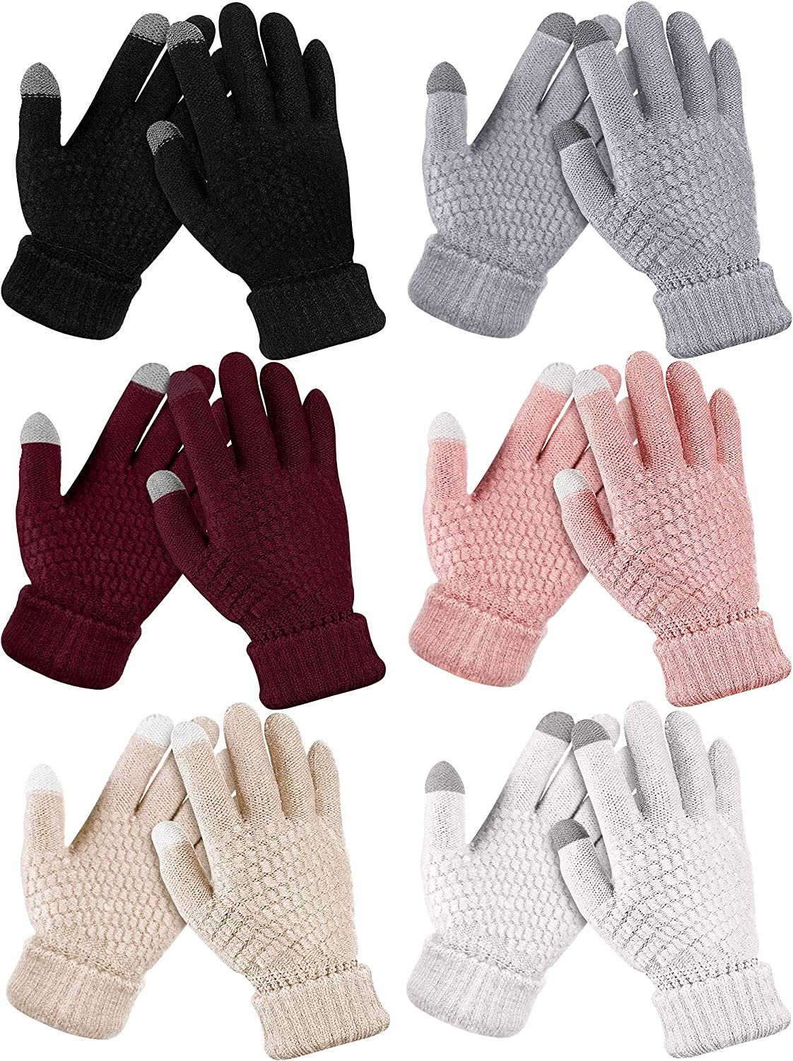 6 Pairs Women's Winter Knitted Touchscreen Gloves Warm Fleece Lined Touch Screen Gloves Elastic Thermal Texting Gloves Knit Mitten Gloves