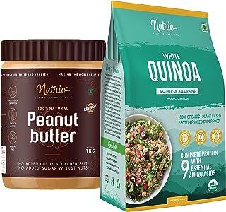 Nutrio 100% Natural Peanut butter 1KG(Crunchy) + 100% Organic Quinoa 1KG Combo Pack (USDA Certified) (1KG + 1KG)