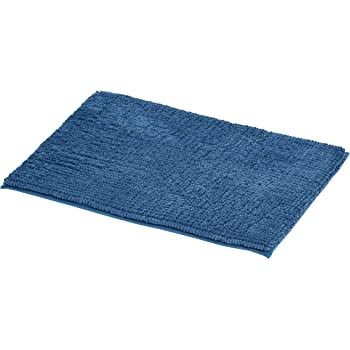 Amazon Basics Chenille Loop Memory Foam Bath Mat - Pack of 2, Small, Blue