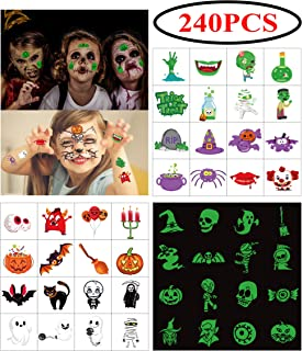 240PCS Assorted Halloween Temporary Tattoos Party Favors - Goody Bags Fillers Kids Trick Or Treat - Pumpkin/Skull/Ghost/Monster Supplies