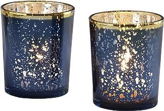 Kate Aspen Mercury Glass Tea Light Holder (Set of 4), Navy/Gold