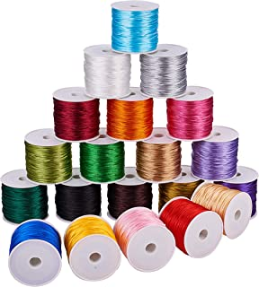 PH PandaHall 20 Colors 640 Yards 1mm Rattail Satin Nylon Trim Cord for Necklace Bracelet Beading Kumihimo Chinese Knot