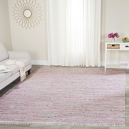 Amazon Com Safavieh Rag Rug Collection Rar125e Handmade Boho Stripe Cotton Area Rug 5 X 7 Light Pink Multi Furniture Decor