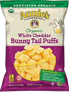 Annie's Organic White Cheddar Bunny Tail Baked Corn Puffs Bag, 12 Count (Pack of 12)