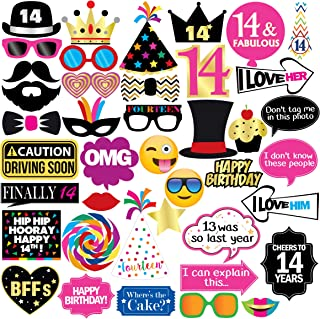 14th Birthday Photo Booth Party Props - 40 Pieces - Funny Kids Birthday Party Supplies, Decorations and Favors