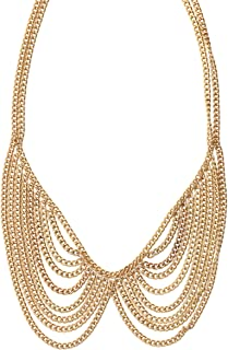 Magic Metal Chainmail Peter Pan Collar Necklace NL23 Gold Tone Tuxedo Bow