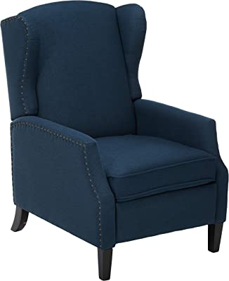 Christopher Knight Home Wescott Traditional Fabric Recliner, Navy Blue