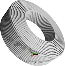 Phone Cable 300ft Rounded White Roll (100 M - 328 ft Long) 4x1/0.4 26 AWG Gauge Solid Wire RJ11 4P4C -Round Telephone Cord Line Extension Bulk Rool Reel -Compatible with RJ 11 Crimp End Connector Jack