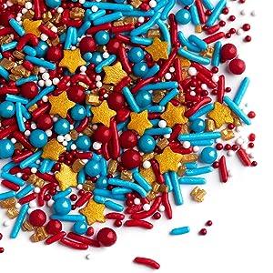 Sprinkles - Sprinklefetti -Marvelous Sprinkles - 4th of July - Red, Blue, Gold Stars - Gluten Free Sprinkles for Baking - Cupcake and Cake Topper - Cake Sprinkles - 6.5 ounces