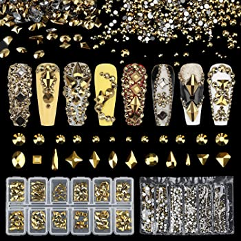 Warmfits AB Crystal Rhinestones Set, Rhinestones Nail Art Gems 9K Clear Class Multi-Shape Flat Back AB Shiny Nail Jewels for Nail DIY Crafts Makeup Phones Clothes Shoes Jewelry Bags 1840pcs Gold