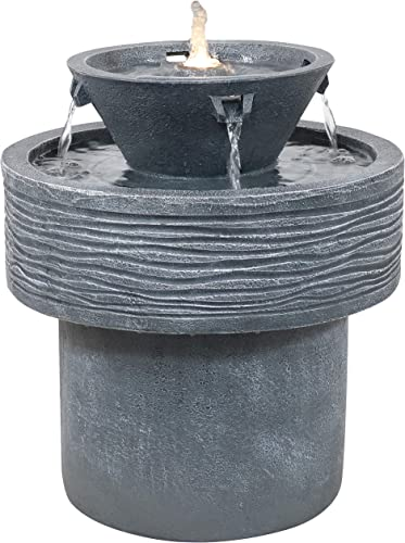 discount Sunnydaze Tranquil Streams 2-Tier Outdoor Water Fountain with LED Lights & wholesale Electric Submersible Pump - new arrival 20-Inch Tall outlet sale