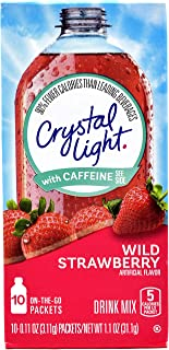 Crystal Light On The Go Wild Strawberry With Caffeine Drink Mix, 10-Packet Box (Pack of 12)