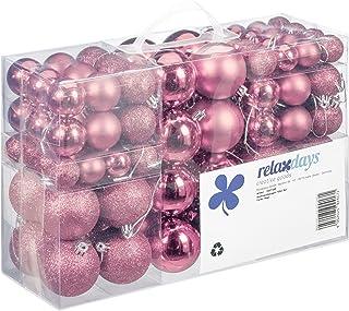 Relaxdays Kerstballen, 100-delige set, kerstdecoratie, mat, glanzend, glinsterend, kerstballen met een diameter van 3, 4 e...