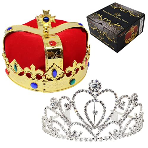 JOYIN Royal Jewleled 2 Pack Kings and Queens Royal Crowns - King Queen Halloween Costume Prom