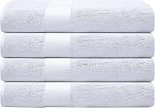 """Bumble Luxury Thick Bath Towels / 30"""" x 60"""" Premium Bath Sheet/Ultra Soft, Highly Absorbent 800 GSM Heavy Weight Combed Cotton (White, 4 Pack)"""