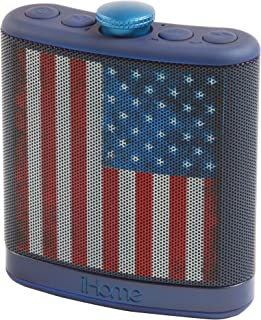 Sound Design iHome Rechargeable Flask Shaped Bluetooth Stereo Speaker - American Flag (iBT12AMFLX)