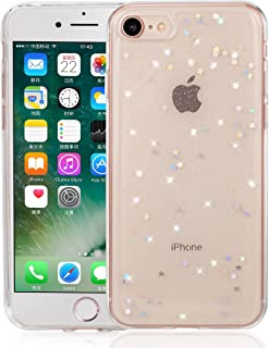 QLTYPRI Silicone Case for iPhone 7, Shining Bling Star Design Crystal Clear Case Ultra Slim Shockproof Transparent Soft TPU Protective Cover for iPhone 7 - Clear