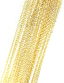 10 Pieces - 17.5inch 16K Gold Plated Finished Cable Chain Necklace Chain Bulk Discount Jewelry Necklace Chain Bulk Chain Wholesale Jewelry Supply - 10PCHN (Gold)