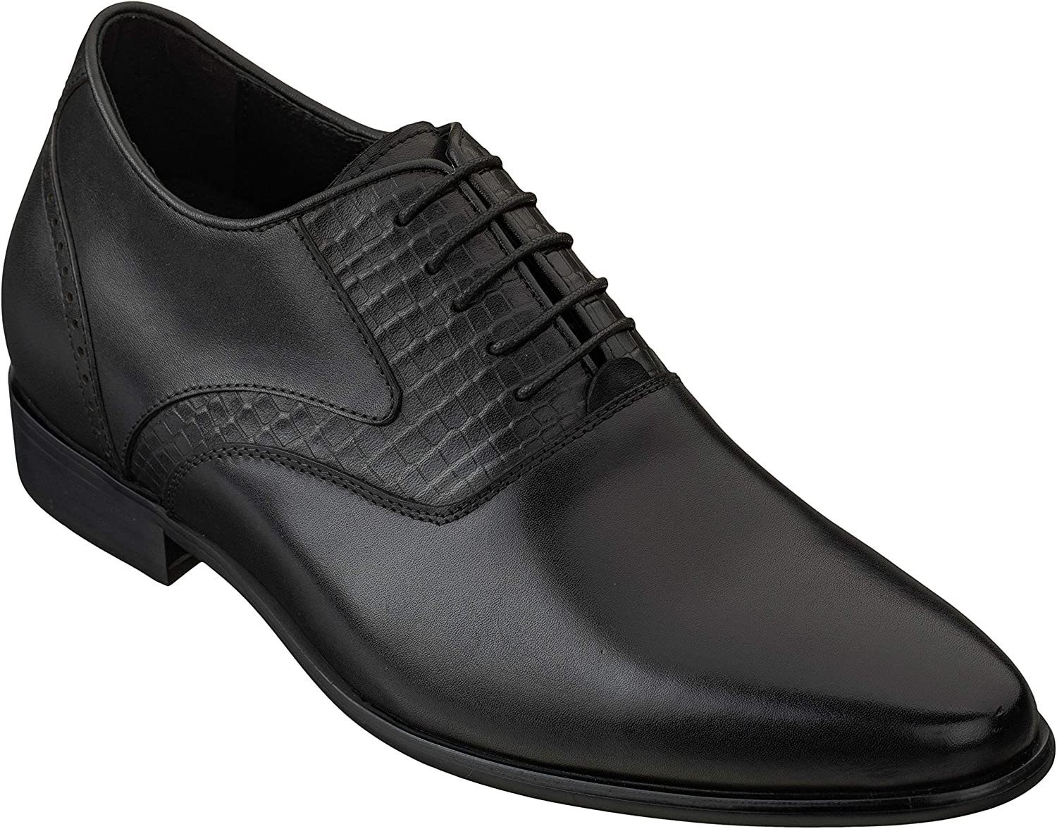 CALTO Men's Invisible Height Increasing Elevator Shoes - Black Premium Leather Lace-up Formal Oxfords with Faux Leather Sole - 2.8 Inches Taller - S1930