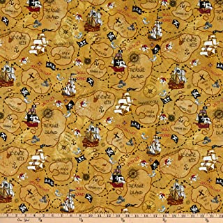 Fabric Traditions Pirate Map Multi