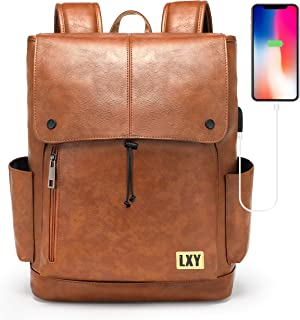 Faux Leather Backpack Women Men USB Port Laptop Bookbag Travel Backpack Daypack